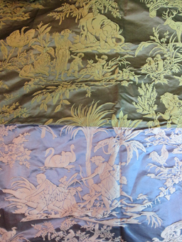 Green and blue sample panel of cotton/silk damask in a toile de Jouy-like pattern