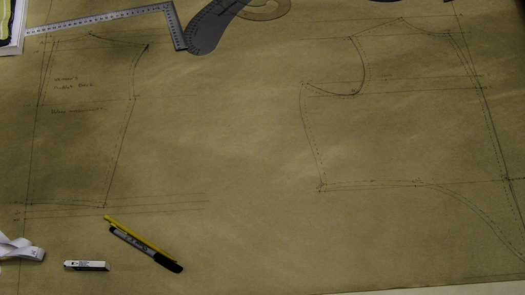 Pattern draft for 16th century woman's bodice